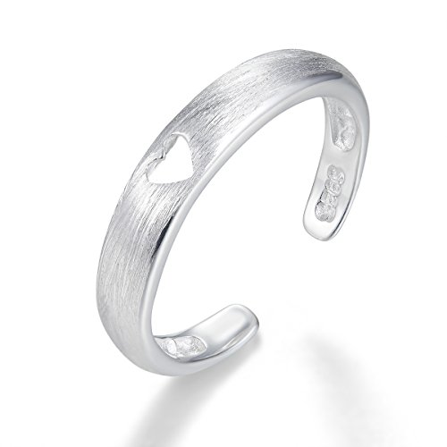 Aichva Sterling Silver Lovely Tiny Small Ring for Girls Adjustable Open Love Heart Ring Gifts Jewellery (Matte, J)