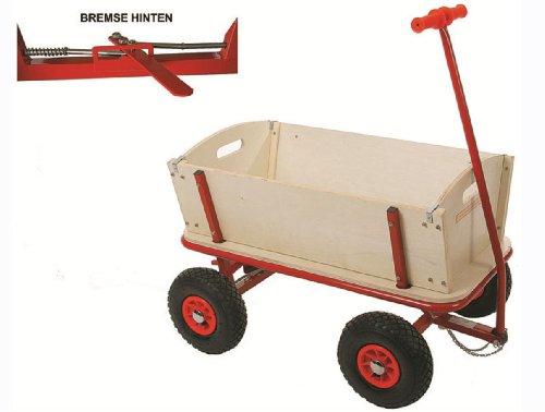stabiler Leiterwagen BollerWagen Holz mit Bremse und Luftreifen TÜV/GS