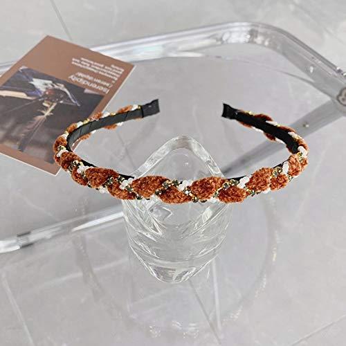 Fashion Women accesorios para el cabello perla Rhinestone diadema de alta calidad tejida de lado delgado banda de pelo lavar cabeza turbante