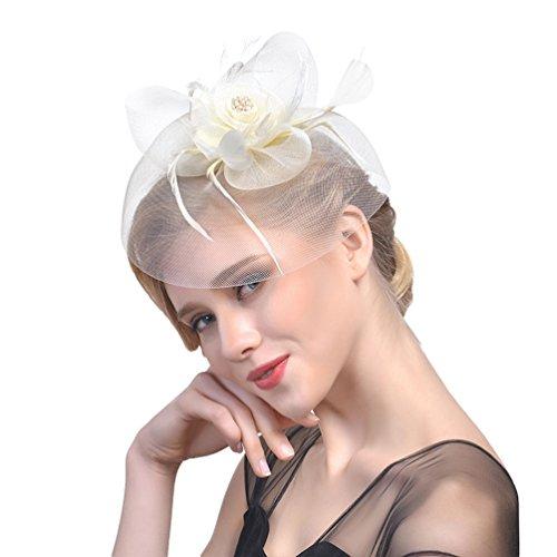 Yujeet Mode Elegant Edel Handarbeit Fascinator Für Damen Tüll-Feder Transparent Braut Haarspange Für Cocktailparty Und Hochzeit Beige One Size