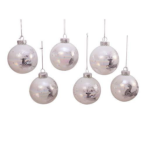 Kurt S. Adler Kurt Adler 80MM Iridescent Reindeer Glass Ball, 6 Piece Box Ornament, white, silver