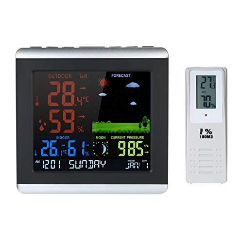 FENXIXI Termómetro Digital Hygrómetro Inalámbrico Estación meteorológica,Color LCD Reloj de pronóstico del Tiempo