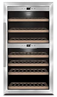 CASO WineComfort 66 Design Weinkühlschrank für bis zu 66 Flaschen (bis zu 310 mm Höhe), zwei Temperaturzonen 5-20°C, Getränkekühlschrank, Energieklasse A (B003X3TTEO) | Amazon price tracker / tracking, Amazon price history charts, Amazon price watches, Amazon price drop alerts