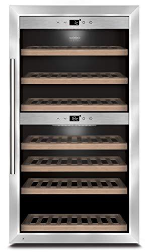 CASO WineComfort 66 | Weinkühlschrank für 66 Flaschen | 2 Zonen auf 5-20°C einstellbar, Touch, LED beleuchtet freistehend, UV-Filterglas, edelstahl
