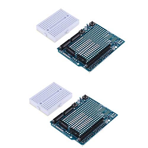 HiLetgo 2pcs UNO R3 Proto Shield Prototype Expansion Board with SYB-170 Mini Breadboard Based for Arduino UNO R3 ProtoShield