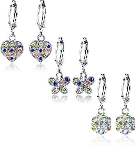 LOLIAS 2-3Pairs Stainless Steel Love Butterfly Earrings for Women Girls Flower Dangle Earrings Zircon Studs Earrings Hexagon Multicolor Cute Earrings for Kids