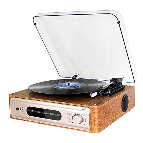 Giradischi Vintage con dl Altoparlante con Display FM Giradischi da Vinile Turntable Bluetooth stereo Supporta Ingresso USB/AUX