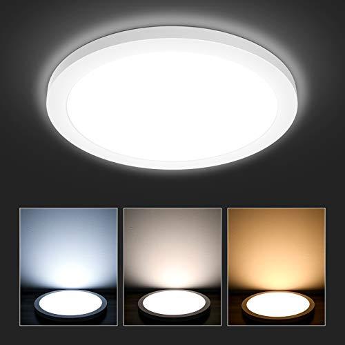 Hidixon LED Deckenleuchte 18W, 120W Äquivalent, Badezimmer Küche Bad Flach Deckenlampe Rund, Ø22cm 1700LM 3000K/4000K/6000K 3 Farbig IP44 Wasserdicht Lampen für Schlafzimmer Wohnzimmer Flur Balkon