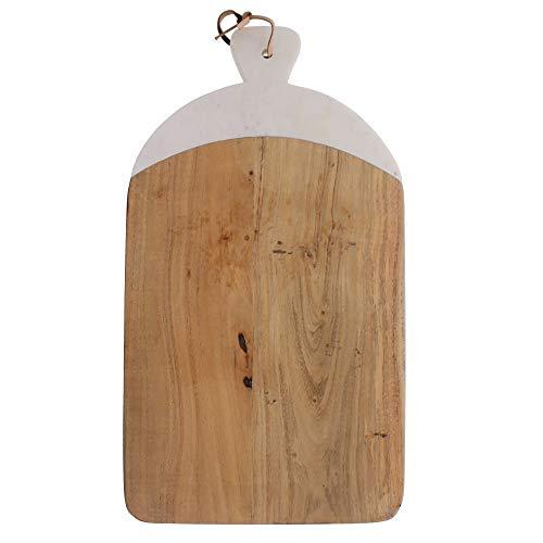 Benzara Tabla de cortar rectangular de madera y mármol, marrón