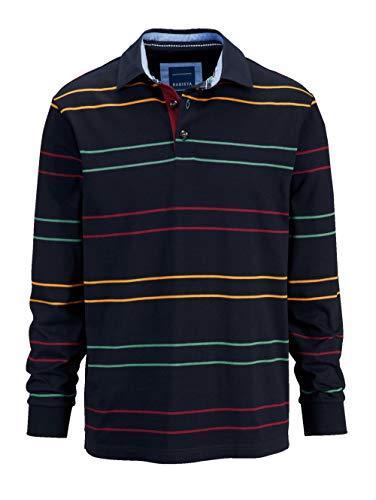 BABISTA Herren Sweatshirt Langarm Gestreift mit Hemdkragen in Marineblau aus Baumwolle