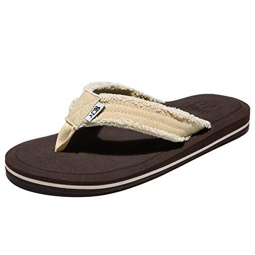 NeedBo NDB Men's Flip Flops Canvas Thong Sandals Comfortable Beach Sandal (10.5 M US, Beige)