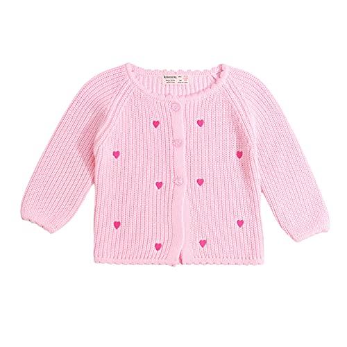 YQYJA Chaqueta de punto de lana para bebé, para otoño e invierno, Rosa., 18-24 Meses