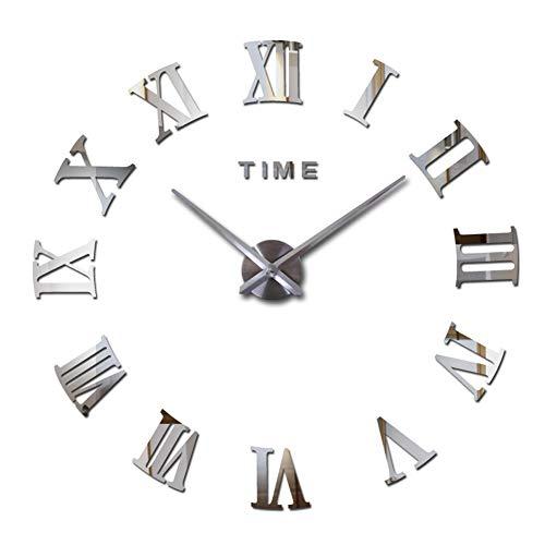 ZJX DIY silencioso Reloj de Pared silencioso números romanos-3d Espejo Pegatina decoración de la Oficina en el hogar