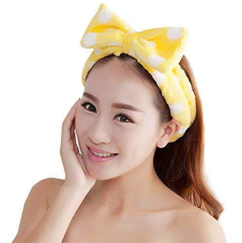 Demarkt Bowknot Stirnband Haarband Haarschmuck Haar Wrap für Make-up Gesichtsreinigung Gesichtspflege,Gelb