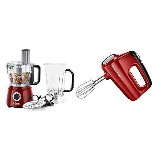 Russell Hobbs Küchenmaschine Desire, Standmixeraufsatz, 600W Zerkleinerer, Food Processor 24730-56 & Handmixer Desire, 5 Geschwindigkeitsstufen plus Turbofunktion, Handrührer 24670-56