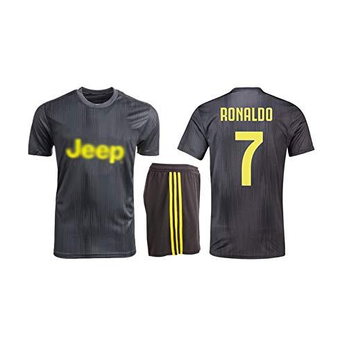 Kinder Fußball T-Shirt, Fußball-Trikot Für Erwachsene, Cristiano Ronaldo DOS Santos Aveiro # 7, Trainingslager-Westenset,Schwarz,L