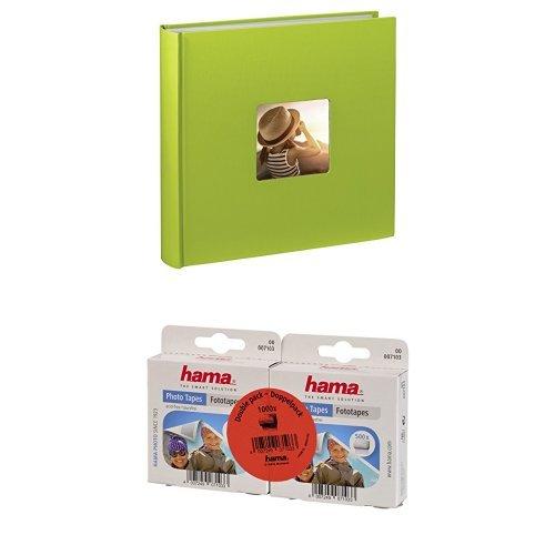 Hama Fine Art Jumbo - Álbum de fotos (30 x 30cm, 100 páginas, 50 hojas, con compartimento para insertar foto), verde claro + Hama - Adhesivos para fotos (1000 unidades, autoadhesivos por las dos caras, caja dispensadora, sin ácidos ni disolventes, aptos para álbumes)