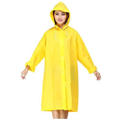 Delmkin Regenmantel Mode Unisex Eva Regenjacke Regenmantel für Erwachsene (Gelb, M)