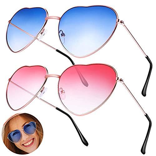 SDFY 2 Pares Gafas Hippie Gafas de Sol en Forma de Corazón, Retro Gafas para Los Accesorios De Disfraces Hippie, Marco Dorado Rosa(Rosado, Azul)