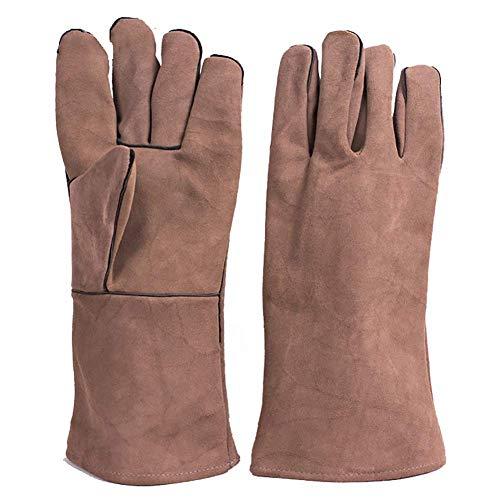 KEKE lederen lashandschoenen Heavy Duty hittebestendige veiligheid Gauntlet handschoenen, voor het lassen, open haard, Oven, houtkachel, kachels, BBQ