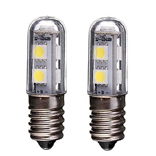 E14 Bombilla LED para lámpara de refrigerador, 1W, 220V CA, 7 leds SMD 5050, Bombilla LED blanca cálida, Para luz de refrigerador, Lámpara de costura, Mini luz de mesa, Paquete de 2
