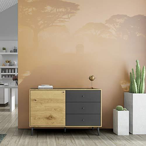 Mc Haus UMMA - Aparador Comedor de Madera Negro, Mueble Cómoda de almacenaje, Buffet Salon Armario de diseño con 1 puerta y 3 cajones 118x40x76cm
