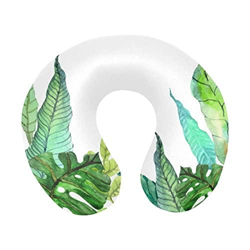 Summer Hawaiian Tropical Palm Tree Banana Leaves Monstera Almohada de Viaje Espuma viscoelástica Avión Cómoda Almohada para el Cuello en Forma de U para avión, Coche, Oficina, Dormir