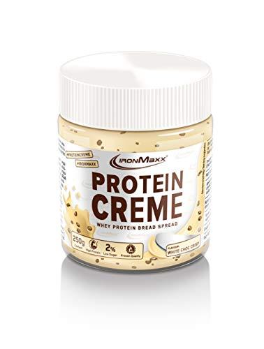 IronMaxx Protein Creme, Weiße Schokolade Crisp – Leckerer Low Carb Schokoladenaufstrich mit bis zu 30% Proteingehalt - ideal für Diätphase & Definitionsphase, 250 g