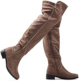 LUSTHAVE Women's Over The Knee Tall Riding Boots - Low Stacked Heel Lounge High Low Collar