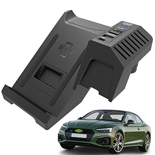 Braveking1 Nuevo Cargador Inalámbrico Coche Auto para Audi A4 S4 RS4 A5 S5 RS5 2017 2018 2019 2020 2021 Consola Central Panel, 15W Carga Rápida Teléfono Cargador con USB y 18W PD para iPhone Samsung