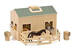 Happy home for 4 plastic horses Sturdy wooden handles make it easy to take the fun along Exceptional quality and value Ask the child to count the number of doors, windows, horses, etc.