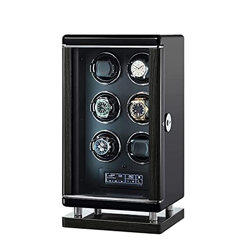 SGSG Enrollador de Reloj para Relojes automáticos 2/4/6/8/12 Almohadas Ajustables para Relojes Carcasa de Madera Pintura de Piano Iluminación LED Exterior y Pantalla táctil, desbloqueo de Huellas