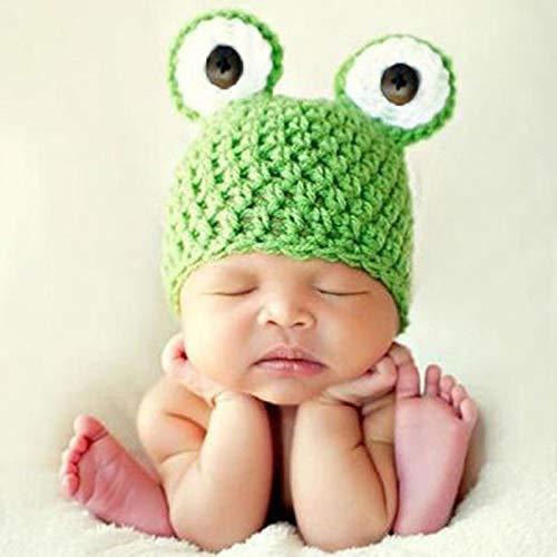 BTTHWR Bebé Fotografía Prop Traje De Ganchillo De Punto Animal Frog Prince Hat Gorras