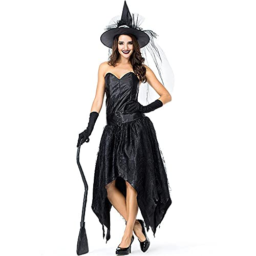 Uteruik Disfraz de bruja para mujer, vestido sin tirantes, con sombrero de mago, guantes para Halloween, Navidad, fiesta, disfraz (M)