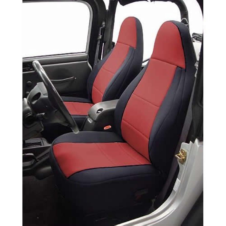 Coverking Custom Fit Seat Cover for Jeep Wrangler TJ 2-Door - (Neoprene, Black/Red) by Coverking