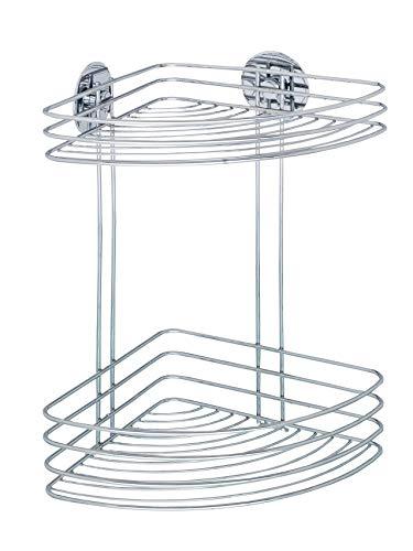 WENKO Turbo-Loc® Eckregal 2 Ablagen - Befestigen ohne bohren, Stahl, 26.5 x 33 x 20 cm, Chrom