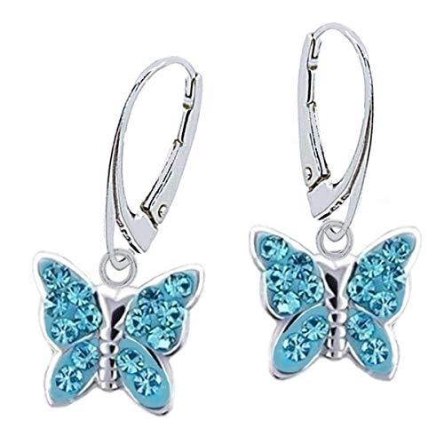 Orecchini a forma di farfalla, in vero argento 925, per bambine e Argento, colore: 4) Acqua., cod. KR-6028S