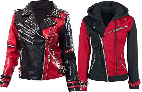 HiFacon Chaqueta de cuero para mujer Psicótica negra y roja Harley Quinn Biker