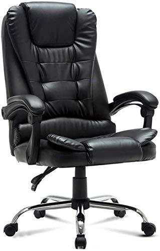 WY Silla giratoria para ordenador, cómoda y reclinada, de piel sintética, con reposabrazos y altura ajustable, peso de 150 kg, apto para oficina en casa, color negro