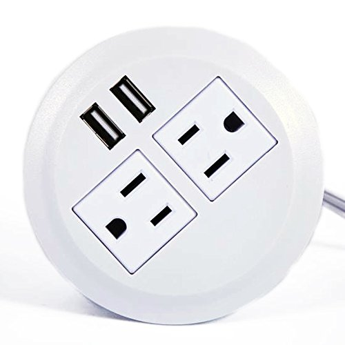 ApexDesk UL Certified Power Grommet - White (Two Power Outlets, Two USB Ports)
