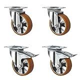 CASCOO SETSHTH200BAU5D0N Lot de 4 roulettes pivotantes 2 roues pivotantes en aluminium avec jante en polyuréthane Diamètre 200...
