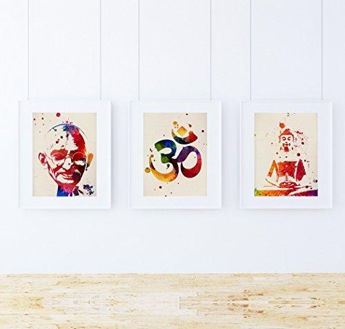 Pack de láminas para enmarcar MEDITACION. Posters Estilo Acuarela con imágenes de la India. Decoración de hogar. Láminas para enmarcar. Papel 250 Gramos