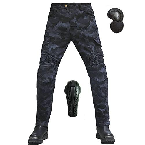 Motorradhose für Herren, Camouflage, atmungsaktiv, winddicht, verschleißfest, Baumwolle, schützende Hose, abnehmbare verlängerte Pads, gepanzert (S, Camouflageblau)