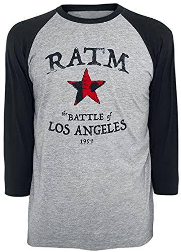 Rage Against The Machine Battle Star Hombre Camiseta Manga Larga Gris/Negro M, 100% algodón, Regular