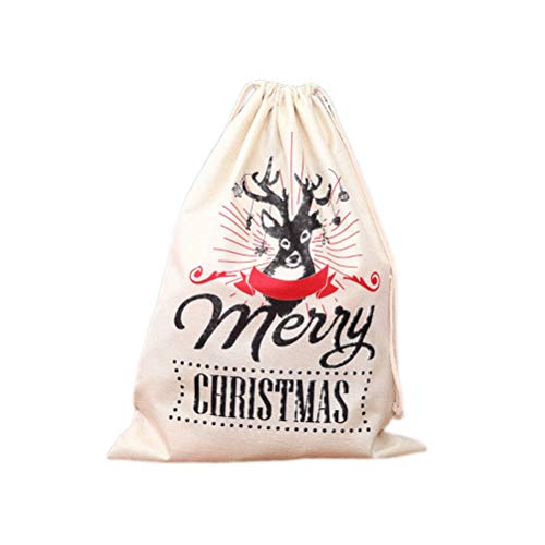 BESTOYARD 1 st Kerst Trekkoord Gift Tassen Grote Linnen Gedrukt Santa Sack Rugzak Winkelen Tassen voor Kids Meisjes…