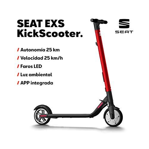 SEAT EXS KickScooter - Patinete eléctrico 25km/h, 12,5kg, 300W, luces LED, Autonomía 25km, Batería Extra Opcional