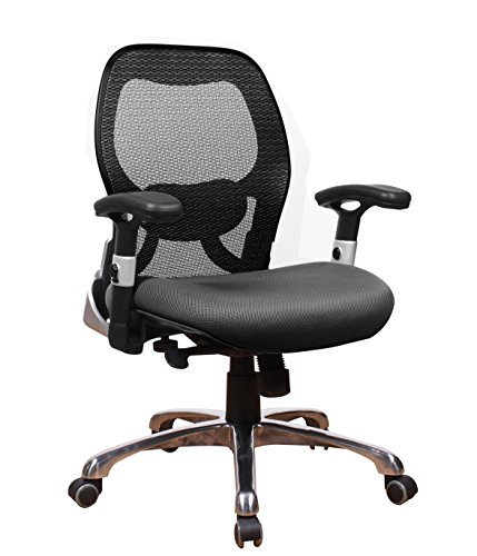 OFFICE FACTOR Ergonomic Back Lumbar Support Executive Mid Back Desk Chair on Wheels for Conference Room or Reception Area | Heavy Duty 300lb Capacity, Breathable Mesh, Adjustable Arms