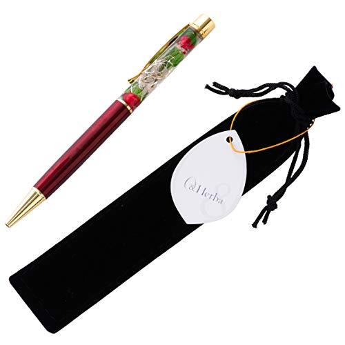 (ファンファン) &Herba ハーバリウム ボールペン 花 ギフト プレゼントおしゃれ ワインレッド 完成品 ベロア調ペンケース付き