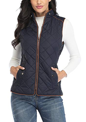 MISS MOLY Women's Padded Vest Stand Collar Zip Up Puffer Lightweight Quilted Vests Blue M