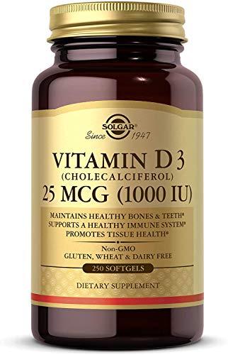 Solgar, Natural Vitamin D3 (Cholecalciferol), 1000 IU, 250 Capsules molles, sans gluten, sans soja